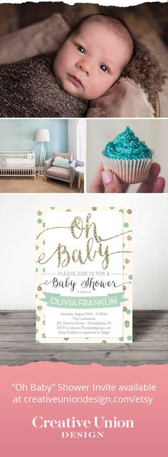 This is the perfect baby shower invitation for the party you are planning! Available in Mint, Pink or Blue. We can also help you with printing! #babyshowerideas