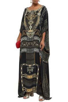 Shop Camilla Woman Embellished Printed Silk Crepe De Chine Kaftan Black from stores. Kaftan Printed Silk Crepe de chine Crystals Slips on Slightly stretchy fabric Mid-weight fabric Dry clean Imported Printed Silk, Silk Crepe, Camilla, Kimono Top, Slip On, Woman, Fabric, Prints, Shopping