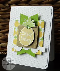 Card by Jen del Muro. Reverse Confetti stamp sets: Pineapples Aplenty and Whole Lotta Dots. Confetti Cuts: Pineapples Aplenty, Layered Banner Duo, and Double Edge Wonky Scallop Border. Quick Card Panels: Piña Colada. Birthday card. Aloha. Any Occasion card. Friendship card.