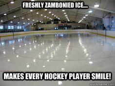hockey memes | Freshly Zambonied ice.... makes every hockey player smile! Hockey