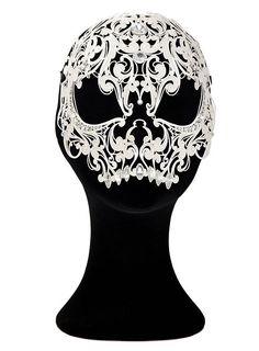 Teschio ornamentale de metallo bianco Venezianische Metallmaske