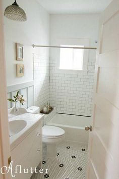A Small Bungalow Bathroom Makeover Hooked on Houses is part of Bungalow bathroom Sarah wrote me about the first major DIY remoing project she underto in her Craftsman bungalow in Seattle, and it wa - Bungalow Bathroom, Craftsman Bathroom, Bathroom Floor Tiles, Bathroom Renos, Bathroom Renovations, Bathroom Interior, Bathroom Ideas, Bathroom Designs, Shower Floor