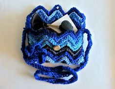Shoulder bag blue bag knitted bag cross body bag by ArtTaj