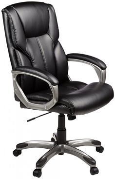 Ergonomic Office Chair Desk Chair Computer Chair with Lumbar Support Arms Executive Rolling Swivel PU Leather Task Chair for Women Adults, Black High Back Office Chair, Best Office Chair, Executive Office Chairs, Home Office Chairs, Home Office Furniture, Modern Furniture, Furniture Decor, Furniture Design, Black Furniture