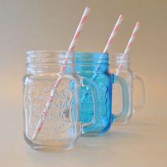 Vaso chopero de vidrio con asa en transparente y turquesa