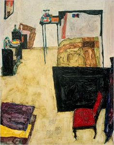 """peinture autrichienne : Egon Schiele, 1911, """"la chambre de l'artiste à Neulengbach"""", chambre, 1910s"""