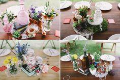Bunte Vintage-Boho Hochzeit in einer Scheune