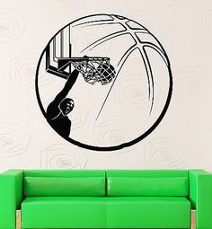 Vinyl Decal Basketball Wall Sticker Sport Decor Ball Slam Dunk Boys Room Decor (ig635)