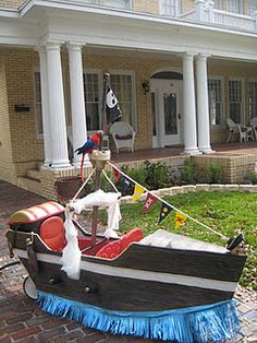 Pirate ship wagon my husband built for the gasparilla childrens parade