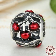 Ciliegie rosse smalto lucide, Glossy Sweet Cherries Charm, Beads 100% argento sterling 925 adatta a Pandora Charms Pandora Beads S365 di OceanBijoux su Etsy