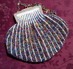 JewelsonWhite BeadKnitted Handbag by TallYarnsDotCom on Etsy, $290.00