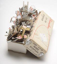 Staple box paper sculpture by Sarah Bridgland