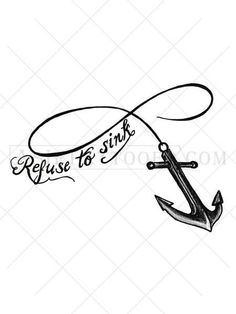 """Show your positivity with this meaningful tattoo featuring the quote """"refuse to sink"""" rendered in black ink. This anchor tattoo with the infinity symbol represents your desire to remain positive and grateful always. Makes a great neck tattoo, arm tattoo, shoulder tattoo or chest tattoo! Also available in tiny tats sets in sizes perfect for ankle tattoos and wrist tattoos."""