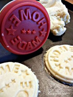 """Cookie stamp that says """"Home Made"""". Yey!"""