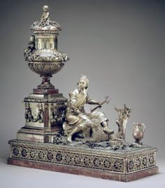 Mantle clock: Culture: probably Austrian Medium: Case: carved and gilded wood; Revolving rings for hours and minutes: gilded brass; Movement: brass and steel Old Clocks, Antique Clocks, Antique Silver, Vintage Clocks, Mantle Clock, Antique Watches, Objet D'art, Metropolitan Museum, Antique Furniture