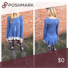 Host Pick 🎉Blue top med left. 98% rayon 2% spandex. Hi low design.  Lace trim on front Infinity Raine Tops