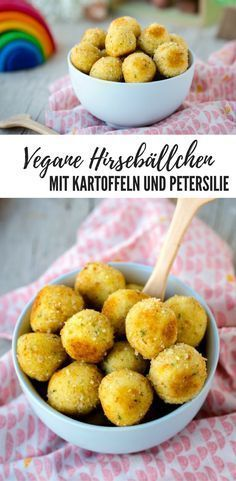 {Recipe} Vegan millet and potato balls - green sprout-{Rezept} Vegane Hirse-Kartoffel-Bällchen – Grünspross Recipe for vegan millet balls with potatoes and parsley – perfect for (small) children - Vegan Vegetarian, Vegetarian Recipes, Healthy Recipes, Healthy Nutrition, Healthy Snacks, Paleo, Fingers Food, Childrens Meals, Sprout Recipes