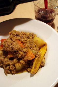 dinner on Sat. beef yogurt curry with potato, onion, carrot, bell peppers then caciocavvalo form Hokkaido Yogurt Curry, Potato Onion, Carrots, Waffles, Potatoes, Beef, Stuffed Peppers, Dinner, Breakfast