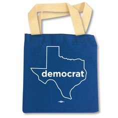 """democrat Texas outline, original design by Texas Democrats -- 9"""" x 9"""" digital imprint on royal blue, 65/35 Poly/Cotton Made-In-USA tote bag (12.5"""" width x 13.5"""" height)"""