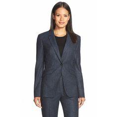 BOSS'Jamoli' One-Button TweedBlazer (2.735 NOK) ❤ liked on Polyvore featuring outerwear, jackets, blazers, anthracite fantasy, tweed blazer, long sleeve jacket, tailored jacket, blazer jacket and long sleeve blazer