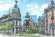 Madrid, Spain art print from original watercolor painting Watercolor Sketch, Watercolor Paintings, City Landscape, Urban Sketchers, Art Studios, Art Drawings, Etsy, Art Prints, Poster
