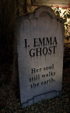 Items similar to I. Emma Ghost - epitaph on Etsy Funny Tombstone Sayings, Halloween Tombstone Sayings, Halloween Graveyard, Halloween Tombstones, Halloween House, Holidays Halloween, Scary Halloween, Halloween Stuff, Halloween Cubicle