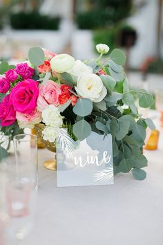 Acrylic tile table numbers by @nicrocdesigns Destination Cabo wedding