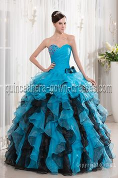 Beautiful Ball gown Blue quinceanera gown Sweet 16 Dresses
