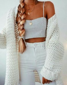 Casual Long White Cardigan Chellysun White Chunky Casual Cardigan Sweater knits outfits for fall and winter boyfriend style for women Mode Outfits, Trendy Outfits, Fall Outfits, Fashion Outfits, Womens Fashion, Fashion Trends, Fashion Hair, Fashion Lookbook, Cute Outfits For Summer