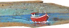 Fishing Boat Driftwood Painting
