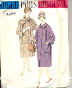 Vintage 1950's Women's Coat Pattern, Vogue 1466 Sewing Pattern, Vogue Paris Original by Patou, Size 16
