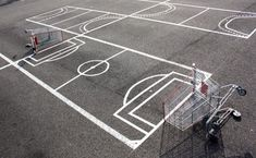 Urban hacker Florian Rivière makes the streets of France his playground with movable crosswalks, pigeon traps and a shopping-cart soccer field. Art Football, Street Football, Super Football, Football Pitch, Football Field, Parking Space, Parking Lot, Parking Spot Painting, Sundays Coming