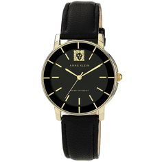 Anne Klein Round Leather Strap Watch ($33) ❤ liked on Polyvore