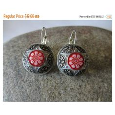 Sale Floral Glass Earrings, Drop Style Silver Earring, Red Flower,... ($10) ❤ liked on Polyvore featuring jewelry and earrings