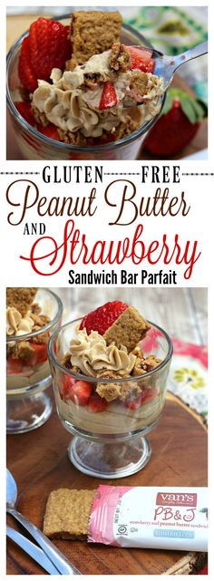 Need a gluten free snack or meal that is totally drool worthy? try our Peanut Butter and Strawberry Sandwich Bar Parfait made with Van's products from Meijer! #ad