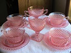 Miss America Pink Depression Glass Cups and Saucers with Creamer and Sugar Bowl