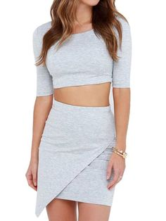 Choies Women's Half Sleeve Crop Top Mini Pencil Skirt Two Piece Bodycon Skirt at Amazon Women's Clothing store: