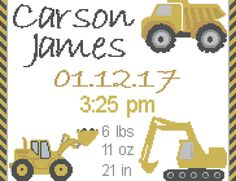 Baby Boy Cross Stitch Pattern/Nursery Cross Stitch Pattern/Dump Truck Cross Stitch Pattern/Excavator Cross Stitch/Bull Dozer Cross Stitch by oneofakindbabydesign on Etsy