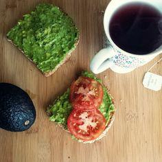Absolute basic avocado spread on toasted Food for Life Ezekiel bread!