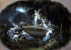 fairy fairies faery faeries faerie fantasy fae victorian painting faun Victorian Fairy Art Daniel Maclise c1834  The Faun and the Fairies