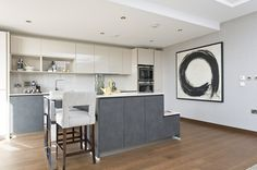 Open plan high specification kitchen at St Dunstan's Court on Fetter Lane, EC4.