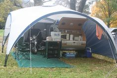 tear drop campers | Easter at Tawonga 2011. We had a 'lean-to garage' added on to the dome ...