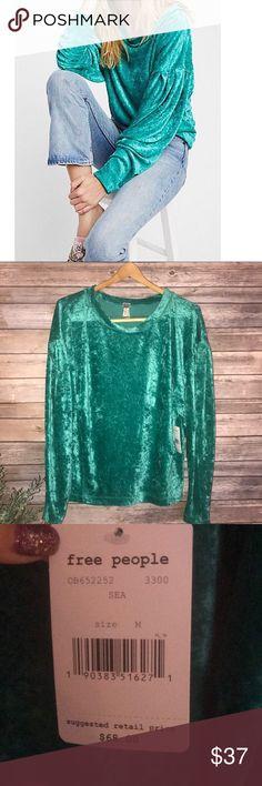 Free People Milan Sea green velvet shirt top NWT Free People Milan Sea green velvet shirt top NWT Free People Tops Tees - Long Sleeve