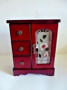JEWELRY BOX-GLASS DOOR,THREE DRAWERS AND NECKLACE RACK 8.5''TALL