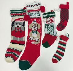 5 Vintage Dogs Puppies Christmas Stockings Acrylic Knit Striped Checked