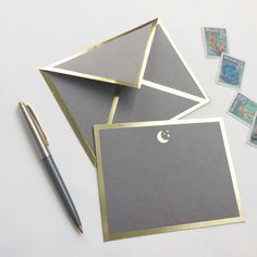 For that person that you love to the moon and back. - Flat gray card with gold foil border - Includes gray envelope with gold foil border - Includes ink test paper swatch - Letterpress printed with go Invitation Cards, Invitations, Envelope Art, Ideas Geniales, Card Envelopes, Letterpress Printing, Card Sizes, Brochure Design, Paper Goods
