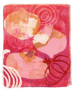 Red Onions (8 x 10) - print, more abstract, layers, different shapes, colour, different line qualities