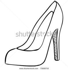 High Heel Shoe Template Printable | high heel - stock vector