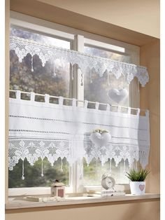 Could use lots of different linens and trims Kitchen Window Treatments, Macrame Curtain, Lace Curtains, Home And Deco, Kitchen Curtains, Kitchen Redo, Window Coverings, Furniture Decor, Design