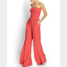 Wide Leg One Piece Jump Suit NWT. Unfortunately never got to wear. Comes with belt that is stretchy and has snap on buttons in the back. Just slips on. Forever 21 Pants Jumpsuits & Rompers